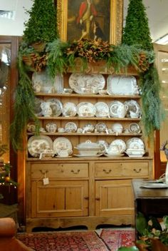 Antique Welsh Pine Sideboard topped with fresh greens pinecones and two mini trees Woodland Christmas, Christmas Love, Beautiful Christmas, Sideboard Decor, Pine Furniture, Furniture Styles, Southern Christmas, Welsh Dresser, Xmas
