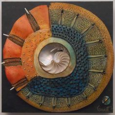 Eno Gallery-Vicki grant Clay and texture! Ideas for tile assignment with mandala/circle design: texture is the name of the game! Ceramic Wall Art, Ceramic Pottery, Pottery Art, Wall Sculptures, Sculpture Art, Polymer Clay Kunst, Paperclay, Mosaic Art, Mosaics