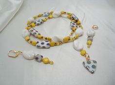 Calcite and magnesite necklace and earrings with Czech glass accents.  I call it Sunny Day.