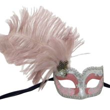 Pink and silver Can Can Venetian mask with a pink and silver painted paper mache colombina mask and pink ostrich and cockerel feathers over the right eye Venetian Masks, Silver Paint, Painted Paper, Paper Mache, Masquerade, Feathers, Eye, Makeup, Clothing
