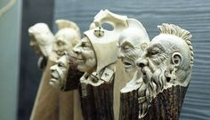 Impressive Carved Wood And Bone Figures By Andrey Sagalov Wood Carving Art, Bone Carving, Wood Art, Decoy Carving, Cane Handles, Bone Crafts, Antler Art, Wooden Walking Sticks, Hand Carved