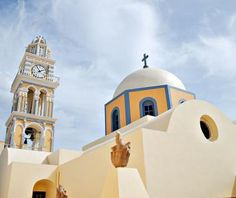 File:The Catholic Cathedral (dedicated to St. John the Baptist) situated in the Catholic quarter of Fira, Fira, Santorini island (Thira), Greece. Santorini Grecia, Santorini Travel, Santorini Island, Things To Do In Santorini, Vacation Wishes, John The Baptist, Hotel Suites, Catholic, Taj Mahal