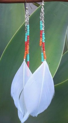 White Feather Beaded Dangle Earring by shandahawaiiandesign, $12.00