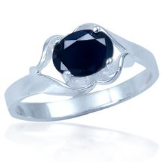 1.28ct. September Birthstone Black Sapphire 925 Silver Solitaire Ring Size 5.75