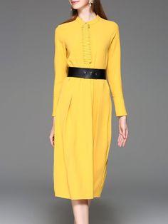 #AdoreWe #StyleWe Designer Midi Dresses - Designer Y&M Yellow Stand Collar Solid Long Sleeve H-line Midi Dress - AdoreWe.com