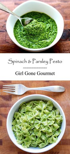 A fresh and tasty pesto made with spinach, parsley, pine nuts, garlic, and asiago cheese. Perfect on pasta! from www.girlgonegourmet.com