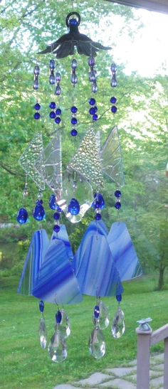 Blue stained glass windchimes