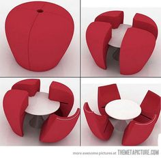 Space saving table and chairs - Creative home furniture idea. Space Saving Table, Space Saving Furniture, Furniture Decor, Modern Furniture, Furniture Design, Weird Furniture, Compact Furniture, Furniture Websites, Furniture Arrangement