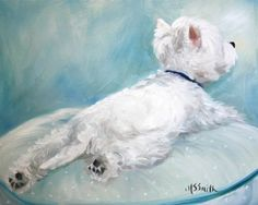 PRINT Westie West Highland Terrier Dog Puppy Art Oil Painting / Mary Sparrow Smith