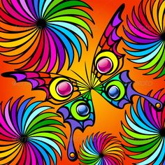 Buy Colorful Exotic Butterfly by verticalia on GraphicRiver. This image is a scalable vector illustration of elements and can be scaled to any size without loss of quality. Butterfly Wallpaper, Butterfly Art, Flower Art, Neon Licht, Frida Art, Abstract Geometric Art, Psychedelic Art, Beautiful Butterflies, Mandala Art