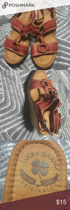 Lucky Wedge Sandals Dark Red leather wedge sandals size 7 1/2 M Lucky Brand Shoes Wedges
