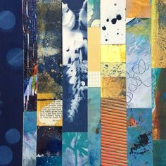 Paper Quilt in Indigo  | mixed media collage | 8 x 8 | By artist Linda Clark Johnson
