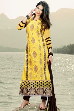 Yellow Georgette Churidar Suit With Dupatta Yellow Georgette, semi stictch churidar suit. Allover embroidered with embroidered and zari work.  V neck, Below knee length, quarter sleeves kameez.   Coffee, santoon churidar.   Coffee, chiffon dupatta with lace border with work.  Product are available in 34,36,38,40 sizes. It is perfect for casual wear, festival wear, party wear and wedding wear.  http://www.andaazfashion.com.my/salwar-kameez/churidar-suits