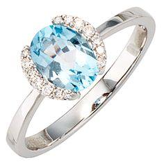 NEU Diamanten Edelstein Ring Topaz hellblau 585er echt Gold Weißgold 14 Karat