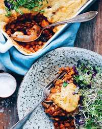 Vegan sweet potato and aubergine moussaka recipe from Green Kitchen Travels by David Frenkiel   Cooked