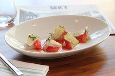 Hawaiian Kampachi Sashimi Green Strawberries, Avocado, Pickled Strawberry Vinaigrette