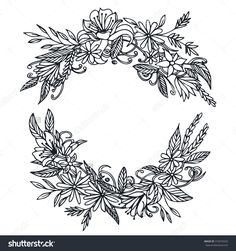 Vector Vintage Round Frame With Flowers. Floral Wreath. Black And White. Good For Wedding Card, Invitation, Greetings. - 318376520 : Shutterstock