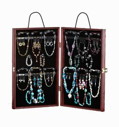 This travel jewelry display case promotes merchandise at trade show events... Aft fairs... Home parties. This presentation and storage unit holds necklaces... Earring cards... Clasp bracelets... D 8 bangles or elastic bracelets. Each travel jewelry display case that holds necklaces is specially equipped with black knobs that accommodate hanging items... Tiers for earring cards... D 4 gold hooks for extra accessories. With this storage showcase the promotion options. Earring Storage, Necklace Storage, Necklace Display, Jewellery Storage, Jewelry Organization, Jewellery Display, Necklace Holder, Mens Jewellery, Jewelry Case