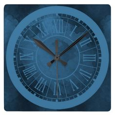 Two Tone Blue Square or Round  Watercolour Clock