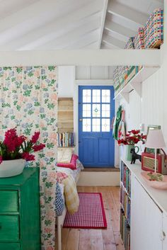 cottage, wallpaper, painted door white walls