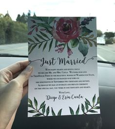Colorful and creative elopement announcement card idea. This card is personalized. You can add your own message too!