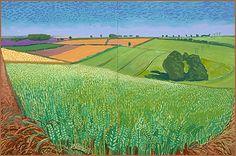 David Hockney The East Yorkshire Landscape, Barley, Wheatfield . David Hockney Landscapes, David Hockney Artist, David Hockney Paintings, Abstract Landscape, Landscape Paintings, Pop Art, Robert Rauschenberg, Edward Hopper, English Artists