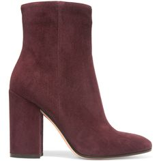 Gianvito Rossi Suede ankle boots (54,065 INR) ❤ liked on Polyvore featuring shoes, boots, ankle booties, botas, sapatos, block heel ankle boots, high heel bootie, suede booties, ankle boots and suede bootie