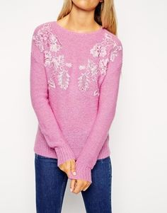 Enlarge ASOS PETITE Sweater With Lace Detail