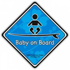 One for the boys! Baby on [Surf]Board Sticker (Blue)