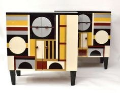 Pair of Unusual Glass Veneered Cabinets  :  Wood and lacquered cut glass.     c1950's