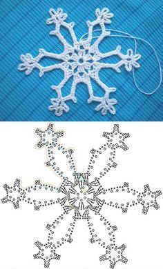 Snowflake pattern - Patrón de copo de nieve. Crochet.