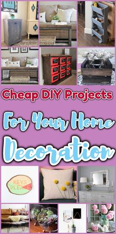 Cheap DIY Projects For Your Home Decoration Inspiring DIY Home decor & DIY Projects,Crochet PatternsCheap DIY Projects For Your Home DecorationLooking for some amazing and stunning che Diy Home Decor Projects, Easy Projects, Decor Diy, Home Decoration, Diy Privacy Fence, Basement Remodel Diy, Cheap Wall Art, Trash Can Cabinet, Diy Coffee Table