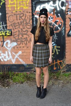 Shop the look - https://marketplace.asos.com/boutique/emma-warren  Facebook - https://www.facebook.com/designemmawarren  #grunge #grungefashion #asosmarketplace #model #outfitoftheday #outfit #beanie #fashion #style #hair #tartan