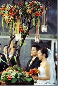 Wedding, Flowers, Green, Orange, Ceremony