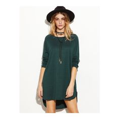 SheIn(sheinside) Dark Green Raglan Sleeve Slit Side High Low Dress ($15) ❤ liked on Polyvore featuring dresses, green, tee shirt dress, short dresses, short in front long in back dress, hi low dress and green t shirt dress