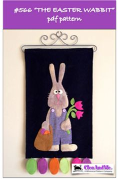 The Easter Wabbit Quilt Pattern CAM-566e by Cleo And Me - Barbie Jo. Wool applique wall hanging for Easter. Check out our penny rug patterns. https://www.pinterest.com/quiltwomancom/penny-rug-patterns/  Subscribe to our mailing list for updates on new patterns and sales!  http://visitor.constantcontact.com/manage/optin?v=001nInsvTYVCuDEFMt6NnF5AZm5OdNtzij2ua4k-qgFIzX6B22GyGeBWSrTG2Of_W0RDlB-QaVpNqTrhbz9y39jbLrD2dlEPkoHf_P3E6E5nBNVQNAEUs-xVA%3D%3D