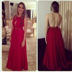 Backless Prom Dress,Beaded Prom Dress,Maxi Prom Dress,Fashion Prom