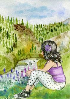 Girl, Watercolor, Scenic, River