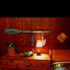 Boy's room camping theme. Found almost all this stuff secondhand at garage sales, etc.