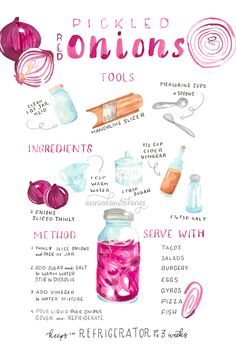 'Pickled Onions Illustrated Recipe' Art Board Print by Annie Parsons Watercolor Food, Watercolor Drawing, Recipe Drawing, Sketch Note, Pickled Red Onions, Tips & Tricks, Food Journal, Food Drawing, Kitchen Art