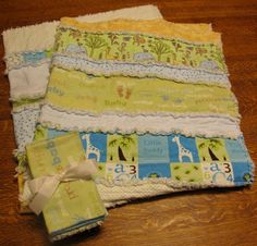 ETSY store for: Baby boy rag quilt with matching burp cloths and wash cloths. So soft and cuddly.