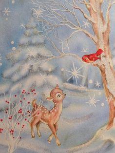 Baby Deer Bird in the Glittered Snow Vintage Christmas Card 1315 Vintage Christmas Images, Old Fashioned Christmas, Christmas Deer, Christmas Past, Retro Christmas, Vintage Holiday, Christmas Pictures, Christmas Greetings, Illustration Noel