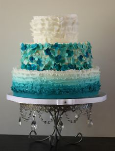 More Than 20 Teal Ombre Wedding Cake Ideas - Bouquet Wedding Flower Beautiful Wedding Cakes, Beautiful Cakes, Cake Wedding, Bouquet Wedding, Wedding Reception, Wedding Stuff, Dream Wedding, Teal Cake, Ombre Cake