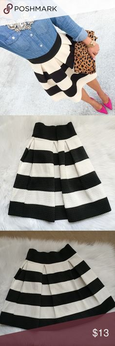 "Xhilaration black and white skirt A-line mini stripped skirt. Condition: very good Size: label says M but I would say it is S. I am S and it fits good to me. Check measures!  Measures: waist flat 12.5"", length 18"". It is stretchy. Xhilaration Skirts Mini"