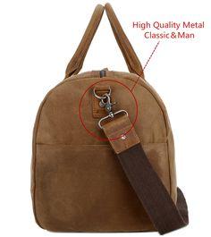 a094c73691664 BAOSHA HB03 Canvas Leather Travel Duffel Bag Overnight Weekender Bag  Carryon Bag Waterproof Kakhi