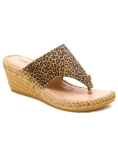 """Andre Assous """"Alyssa Mid"""" Leather Wedge Thong Sandal"""