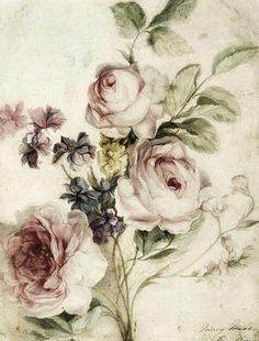 Vintage flowers, dusty/pale pink, light green, beige, worn