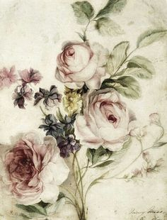 Vintage flowers, dusty/pale pink, light green, beige, worn  With darker brown / black in undertones