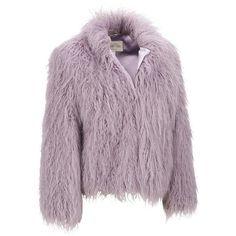 Fabulous Furs Tibetan Lamb FauxFur Jacket ($140) ❤ liked on Polyvore featuring outerwear, jackets, fake fur jacket, purple jacket, purple faux fur jacket, faux fur jacket and animal jacket