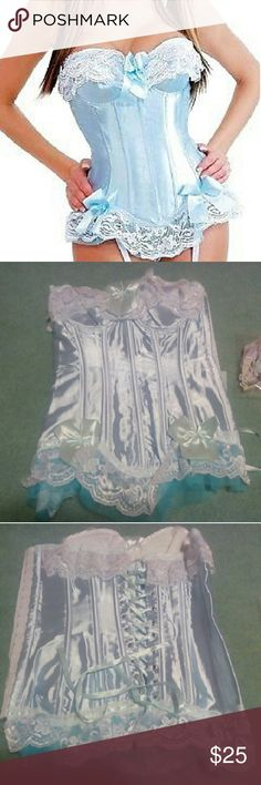 *SALE! Babyblue Kawaii Lace Back Corset Also comes with garter and G-String  Brand new ! Never worn!  Says L, but Fits a US size M.  Keep in mind, it is a paler blue in person. The second and third photographs show it more true to its original color.  Super cute for a Bo-Peep, or Cinderella costume! Intimates & Sleepwear Shapewear